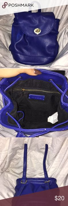 Forever21 Blue Backpack Small backpack blue from Forever21. My friends cat started to play with the bag so I posted some pictures of the damages. They are small and not that noticeable. Let me know if you have any question  Forever 21 Bags Backpacks