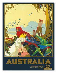 Beautiful, colorful vintage art! ♥ 'Australia: Parrots, c.1930's' Giclee Print