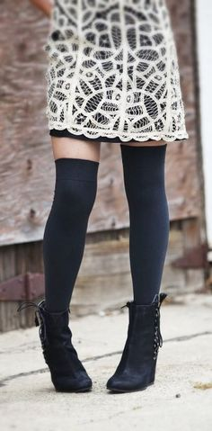 what shoes to wear with thigh highs - Google Search