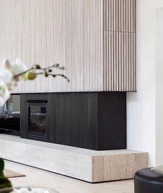 31 Stunning Modern Fireplace Design Ideas 31 Stunning Mode Home Deco contemporary fireplace Design Fireplace Ideas Mode Modern modernfireplaceideas Stunning Fireplace Tv Wall, Fireplace Surrounds, Fireplace Design, Fireplace Ideas, Home Interior Design, Interior Decorating, Interior Plants, Timber Battens, Timber Walls