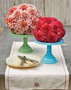 ball of flowers on cake stands