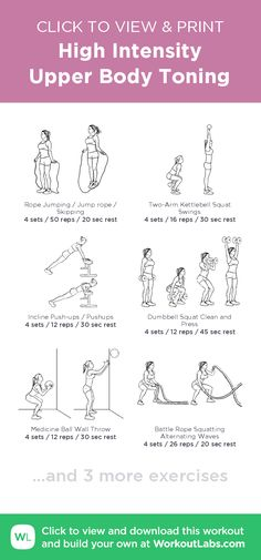 High Intensity Upper Body Toning –click to view and print this illustrated exercise plan created with #WorkoutLabsFit