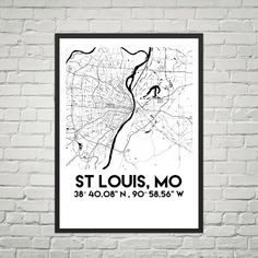 Map Poster of St Louis Mo Downloadable