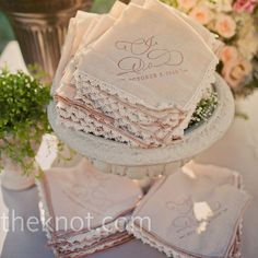 Vintage Handkerchief Favors    The couple tea-stained brand-new hankies to give them a vintage look.