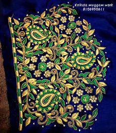 Best Blouse Designs, Wedding Saree Blouse Designs, Pattu Saree Blouse Designs, Blouse Back Neck Designs, Peacock Embroidery Designs, Embroidery Suits Design, Embroidery Works, Embroidery Fashion, Maggam Work Designs