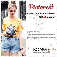 """""""Follow Romwe on Pinterest, Get $5 coupon"""" by romwe on Polyvore"""