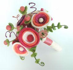 Funky felt flower wedding bouquet with white hot by AspenCroft
