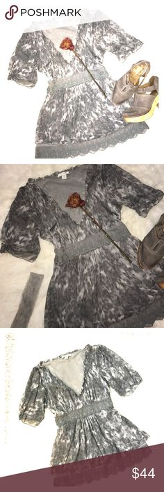 💖 SILK TOP Great condition 💯 % silk laced top by Intuitions size-S. very beautiful and romantic top; super fine silk grayish animal motif. Intuitions Tops