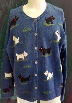 SCOTTIE DOG Knit Button Front Cardigan Sweater Scottish Terrier 2XL XXL Plus…