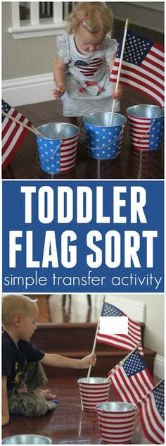TODDLER FLAG SORT- A FOURTH OF JULY TRANSFER ACTIVITY