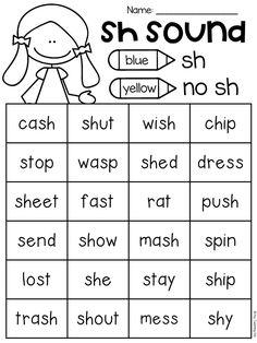 SH sound worksheet
