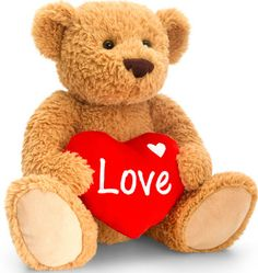 Large Love You Teddy Bear with Heart - Brown