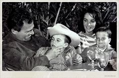 Mike Todd, Elizabeth Taylor and the kids lunch at the Racquet Club.
