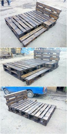 Catch away with this bed frame work that has been so rustic and simple designed . - Catch away with this bed frame work that has been so rustic and simple designed out with the wood p - Pallet Bedframe, Wooden Pallet Beds, Diy Pallet Bed, Pallet Patio Furniture, Diy Pallet Projects, Furniture Projects, Wood Pallets, Diy Furniture, Bedroom Furniture