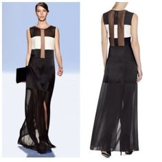 NWT BCBG RUNWAY ITALY CICELY EVENING DRESS L0. BLACK AND WHITE ,SHEER . #BCBGMAXAZRIA #EVENINGDRESS #Formal