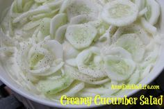 Creamy Cucumber Salad Recipe  4 large Cucumbers • 1 medium Sweet Onion • 1 cup Mayonnaise • 1/2 cup White Sugar  • 1/4 cup White Vinegar • Salt and Pepper to taste  • Cover with a lid, shake lightly. • Allow to marinate in the refrigerator for a minimum of 6 hours (overnight works well). • Refrigerate leftovers.