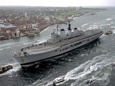 HMS Ark Royal R-07 arriving at Portsmouth, England.