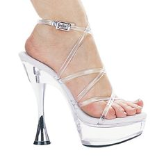 #FashionBug 6 Inch Womens Sexy High Heel Shoes Evening Shoes With Silver Cone Heel Clear St www.fashionbug.us