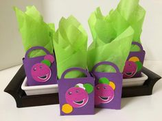 Barney Inspired Birthday Party Favor Boxes Barney and Friends Birthday Party I love you, you love me Party Games Purple Dinasour by FiggiDoodles on Etsy