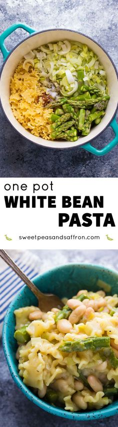 This one pot white bean pasta contains leeks, asparagus, lemon and gruyere cheese. It is a healthy vegetarian dinner recipe that uses only one pot and is ready in 30 minutes!