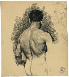 Joaquín Sorolla (Spanish, 1863-1924), Male nude, 1898-1900. Pen and black ink on paper.