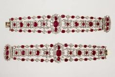 Pair of diamond and ruby bracelets belonging to the Duchess of AngoulêmeParis, 1816 and 1825.