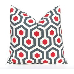 15 Off Decorative Pillow Covers Red Pillow Covers Red and Gray... (£10) ❤ liked on Polyvore featuring home, home decor, throw pillows, decorative pillows, home & living, home décor, silver, red shams, gray pillow shams and gray home decor