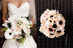 Romantic Pink and White Wedding Bouquets - black and white - stunning & elegant with dahlias and anemones
