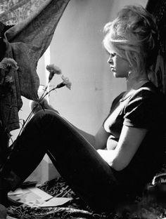Brigitte on the set of Vie Privee, 1961.