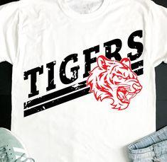School Spirit Shirts, School Shirts, School Tshirt Designs, Cheer Shirts, Football Shirts, Sport Shirt Design, Grunge, Tiger Shirt, Football Design