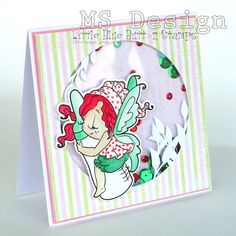 Shaker card designed by Michaela for Little Blue Button Stamps design team; Fairy with milk bottle.