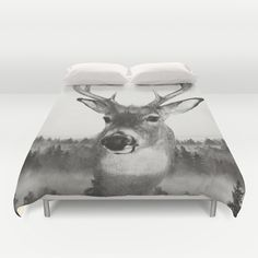Whitetail Deer Black and White Double Exposure Duvet Cover