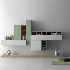 modular bookcase / wall-mounted / contemporary / wooden