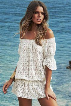 Fashion Dresses : Vestido playero de hombros caídos