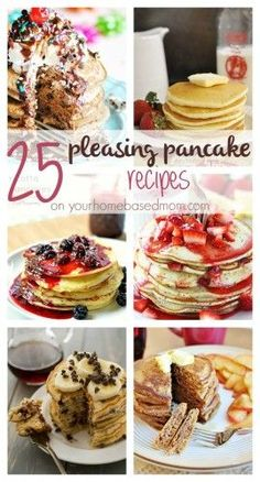 25 Pleasing Pancake Recipes An amazing roundup of 25 different fun pancake recipes. Lots of fun flavors and forms of pancakes ! Breakfast And Brunch, Breakfast Pancakes, Breakfast Items, Breakfast Dishes, Breakfast Recipes, Pancake Dessert, Best Pancake Recipe, Pancake Recipes, Brunch Recipes