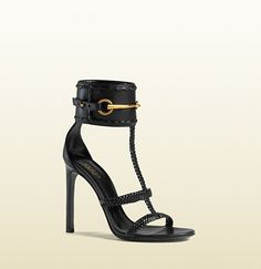 018b5527912a Gucci - Ursula Patent Leather Horsebit Ankle-Strap Sandals