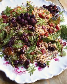Farro Salad with Oven-Roasted Grapes and Autumn Greens | Martha Stewart Living - Chewy farro -- an Italian whole grain -- is tossed with mixed greens in this colorful salad.