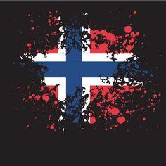 Norwegian flag ink splatter