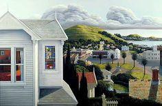 Nz art New Zealand Landscape, New Zealand Art, Nz Art, Kiwiana, Through The Window, Contemporary Artwork, Art Education, Old Houses, Landscape Paintings