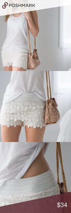 """🆕Sweetest Shorts ◽️Sweetest ivory crochet shorts with a comfy stretch waistband and silky/satin lining. So cute in the summer styled with an all white outfit. Very comfortable! This type of waistband is my favorite and is so flattering. Cotton/poly. S/M: waist 12.25"""" across unstretched, rise 10.75"""" M/L: waist 13.25"""" across unstretched, rise 11"""" I am modeling S/M. New. ▫️Price is firm, no offers 📷 Photos are my own 11thstreet Shorts"""