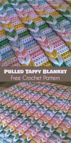 Pulled Taffy Baby Blanket Free Crochet Pattern #freecrochetpatterns #crochetblanket #babyblanket
