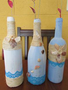 botellas decoradas con conchas  , inspiradas en playa