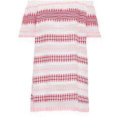 LemLem Tabtab off-the-shoulder striped cotton-blend gauze mini dress ($305) ❤ liked on Polyvore featuring dresses, white, white off the shoulder dress, white gauze dress, print dresses, white mini dress and short dresses
