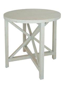 "LOFThome.com Geometric Side Table. White Oak w/ Vintage Grey Finish. 30""r x 28""h"
