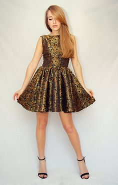 60s style brocade paisley prom or bridesmaid dress, mad men dresses, 60s evening gown, date cocktail dress, CUSTOM MADE