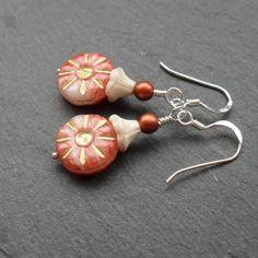 Czech Glass Flower Beads Sterling Silver Earrings £8.50
