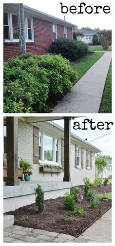front. This house undergoes am awesome simple reno. Great curb appeal! Love the shutters, window boxes, painted brick -love painted brick, columns, and new landscape, painted door! Geesh! Love it all and it's all simple!