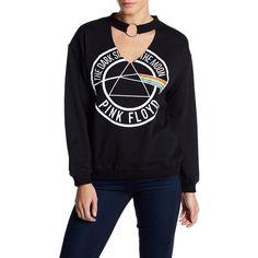FREEZE Pink Floyd Choker Fleece Sweatshirt ($17) ❤ liked on Polyvore featuring tops, hoodies, sweatshirts, black, graphic sweatshirt, long sleeve tops, graphic print top, fleece sweatshirt and fleece tops