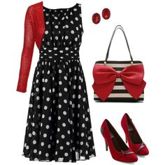 Red. Black. Dots & Stripes. by theartbug on Polyvore featuring Swing, Jane Norman, Bettie Page, Betsey Johnson and Kabella Jewelry