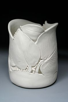 Hosta leaf pottery vase by Nancy Monsebroten
